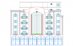 Multi-family and multi-flooring apartment flats elevation details dwg file