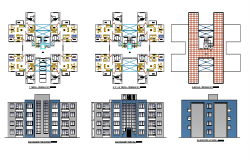 Multi-family apartment building elevation and floor plan details dwg file