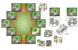 Multi-family apartment building floors floor plan details dwg file