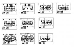 Multi-family apartment building floors layout plan details dwg file