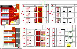 Multi-family apartment flats elevation and sectional view dwg file