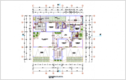 Multi family building first floor architectural plan dwg file