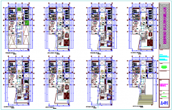 Multi family building floor plan view dwg file