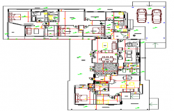 Multi-family colonial housing architecture layout plan details dwg file