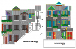 Multi-family dwelling house front and back elevation details dwg file