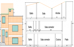 Multi-family house elevation and sectional view dwg file