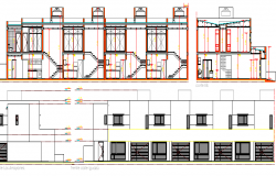 Multi-family house main elevation and section details dwg file