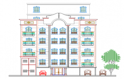 Multi-family housing apartment building elevation details dwg file