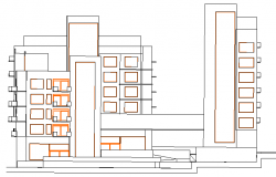 Multi-family housing apartment flats elevation dwg file