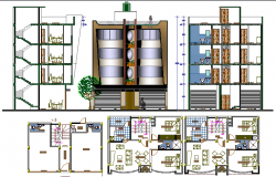 Multi-family housing apartments elevation, sectional and layout plan details dwg file