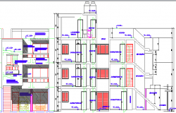 Multi-family housing building detailing section plan dwg file
