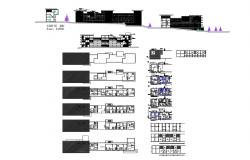 Multi-family housing building elevation, section, floor plan and auto-cad details dwg file