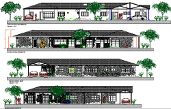 Multi-family housing detailed elevation and sectional view dwg file