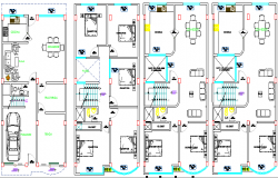 Multi-family housing flats floor layout plan dwg file