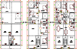 Multi-family housing project floor plan details dwg file