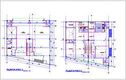 Multi family housing with office area first and second floor architectural plan dwg file