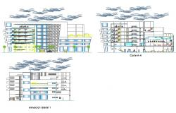 Multi-family residential apartment building elevation and section cad drawing details dwg file
