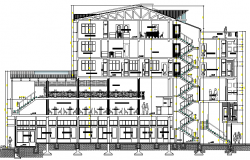 Multi-family residential apartment flat sectional view dwg file