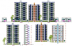 Multi-family residential apartment flats elevation and sectional view dwg file