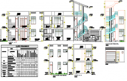 Multi-family residential building architecture project dwg file