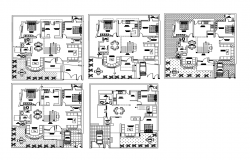 Multi-family residential building floors floor plan cad drawing details dwg file