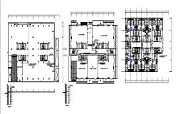 Multi-family residential building framing plan and floor distribution plan details dwg file