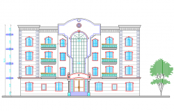 Multi-family residential building front elevation details dwg file