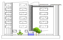 Multi-family residential building main elevation dwg file