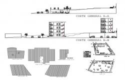Multi-family residential building section, plan and auto-cad details dwg file