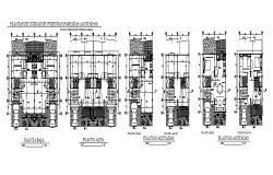 Multi-family residential building units floor plan cad drawing details dwg file