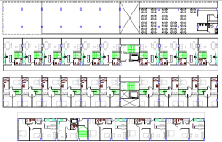 Multi-family residential flats architecture layout plan dwg file
