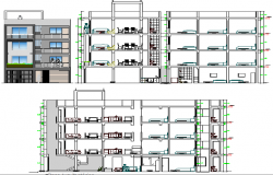 Multi-family residential housing apartment elevation and section details dwg file