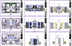 Multi-family residential housing building architecture project dwg file