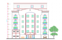 Multi-family residential housing building elevation details dwg file