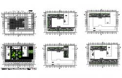 Multi-family station 6 floors levels and detailed cuts floor plan details dwg file