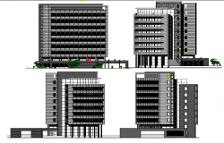 Multi-flooring administration building all sided elevation details dwg file