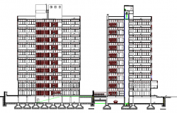 Multi-flooring administration front and side elevation details dwg file