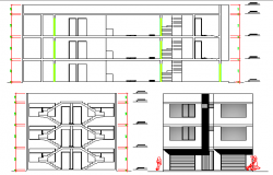 Multi-flooring and multi-family housing building elevation and section details dwg file