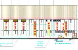 Multi-flooring building main elevation dwg file