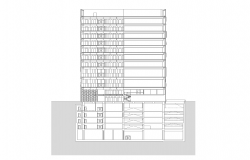 Multi-flooring building structure detail elevation 2d view layout autocad file