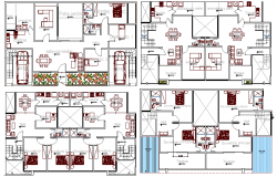 Multi-flooring bungalow all floors layout plan details dwg file