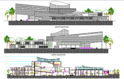 Multi-flooring city convention center elevation and section details dwg file