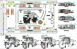 Multi-flooring city hospital architecture project details dwg file