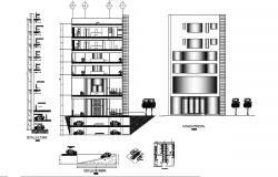 Multi-flooring corporate building elevation, section and ramp details dwg file