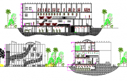 Multi-flooring corporate building elevation and sectional details dwg file