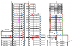 Multi-flooring corporate office building section details dwg file
