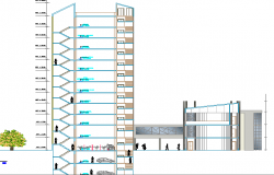 Multi-flooring finance center building sectional view dwg file