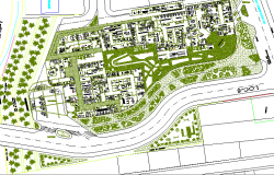 Multi-flooring hospital landscaping details with site plan dwg file