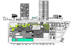 Multi-flooring hotel building elevation, section and landscaping details dwg file