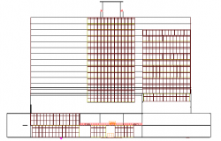 Multi-flooring hotel north elevation details dwg file